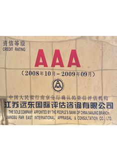 2008.10-2009.9 AAA资信等级